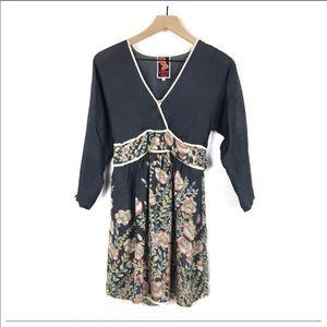 Johnny Was Silk Navy Blue Floral Dress Size Medium